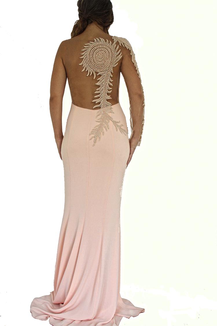 robe perles rose. Robe de soirée libanaise et dubai sexy perles blanches.