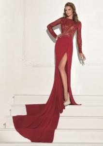 robe rouge avec fente Tarik Ediz