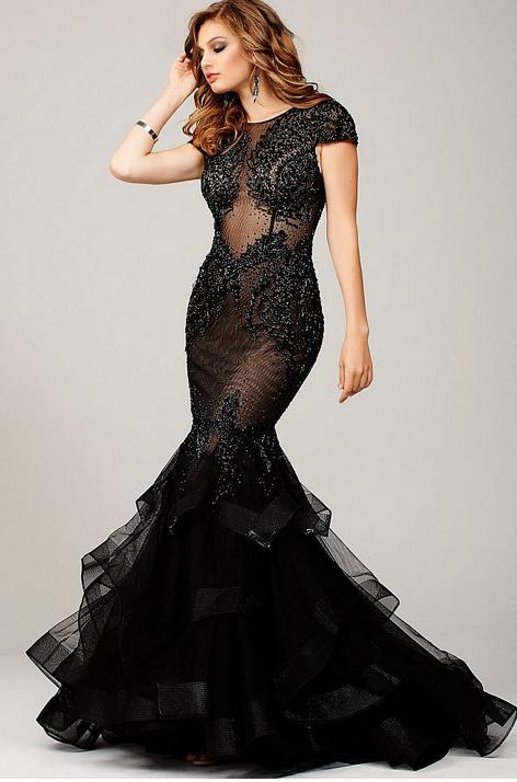 robe dubai sexy moulante. robe de soirée, mariage, gala, bal. Robe Jovani Paris. Robe transparante longue moulante formes courbes.