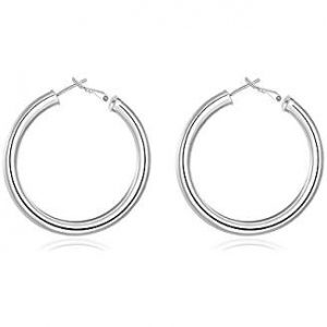 Boucle d'oreille anneaux argenté ronde forme arrondie