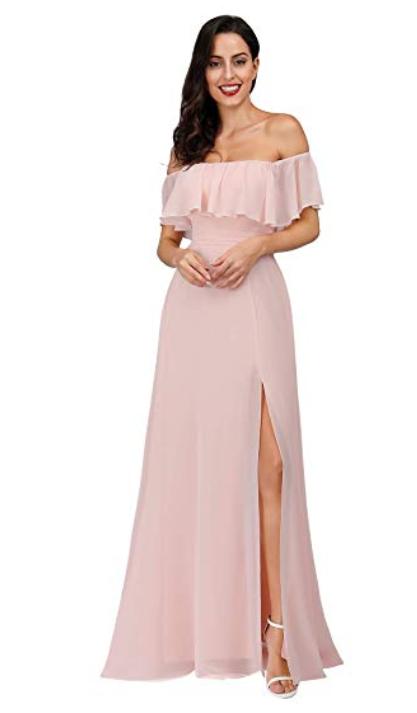 Robe de soirée rose clair épaules dénudés