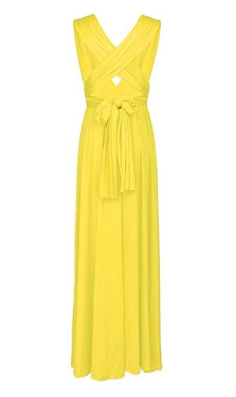 Robe de soirée bohème jaune