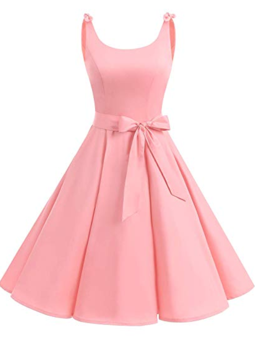Robe rose retro vintage noeud papillon